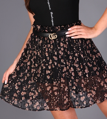 LUXURY❤ONLINE: Skirt KILIBBI colour black, skirts everyday , casual, high waist, flared, flowery pattern #luxuryonline