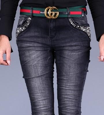 be50a1be612 PŘIDÁVATE VÝROBEK DO KOŠÍKU  Jeansy w Przecieranej Czerni + Biżuteria.  Dámské kalhoty