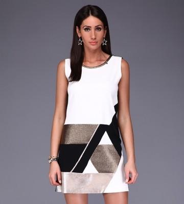 090b69776a5f RINASCIMENTO - Elegancka Bianco Nero + Złoto DRESS Women s Clothing