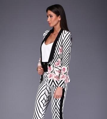 Women's Clothing WOMAN'S SET ROBERTA BIAGI - Ekskluzywny Garnitur  Bianco/Nero W Róże
